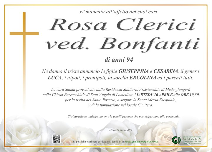 Necrologio di Rosa Clerici ved. Bonfanti