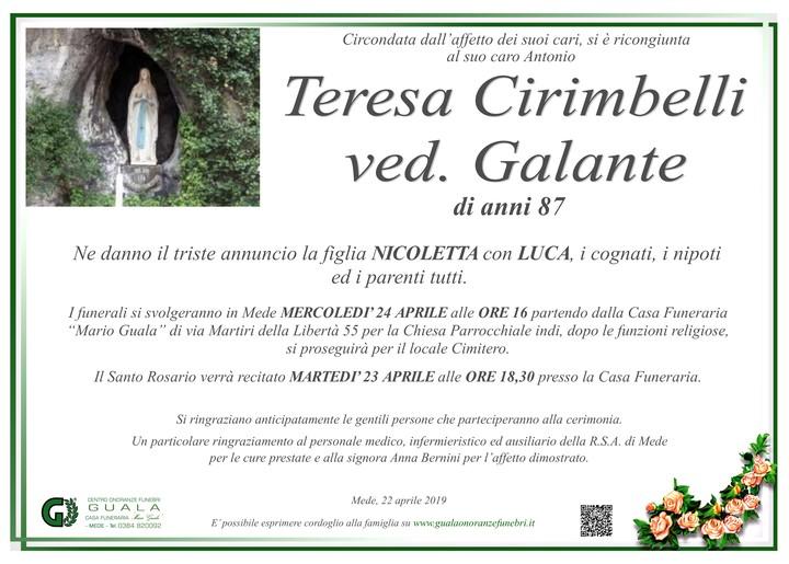 Necrologio di Teresa Cirimbelli ved. Galante