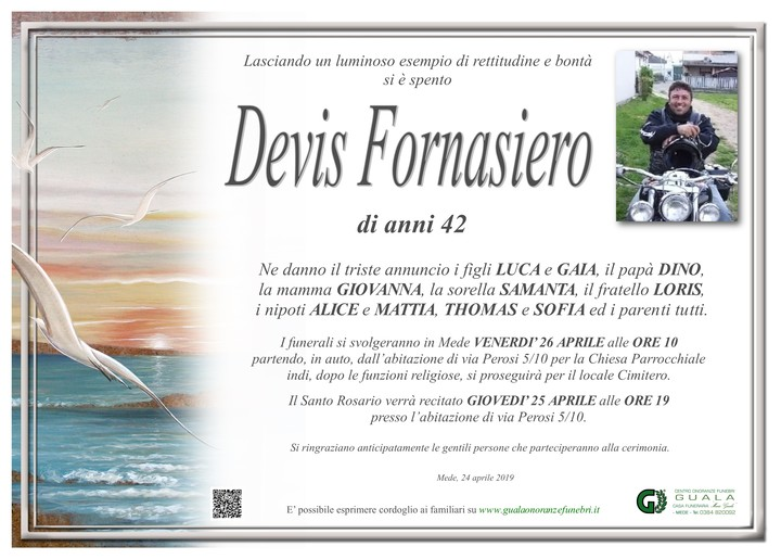 Necrologio di Devis Fornasiero