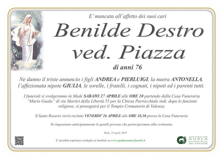 Necrologio di Benilde Destro ved. Piazza