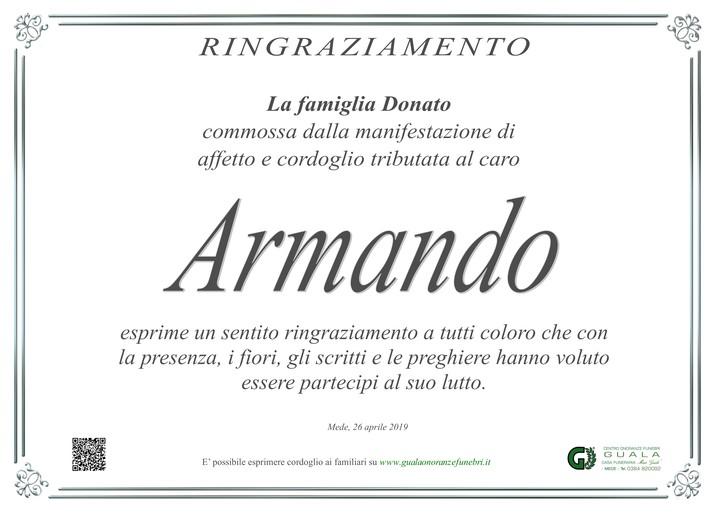 Ringraziamento per Armando Donato