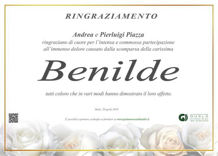 Ringraziamento per Benilde Destro ved. Piazza