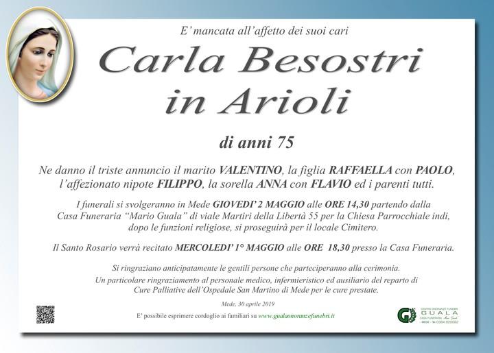Necrologio di Carla Besostri in Arioli