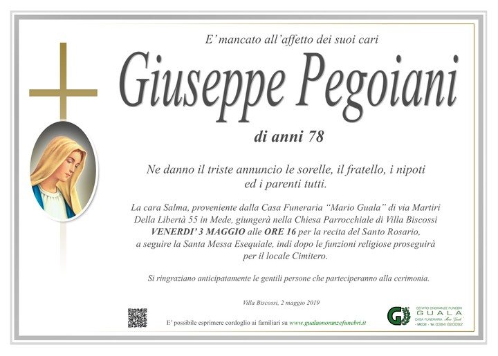 Necrologio di Giuseppe Pegoiani