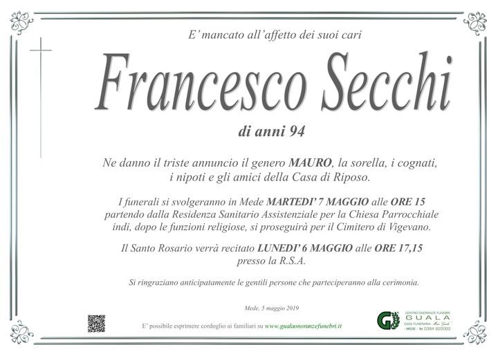 Necrologio di Francesco Secchi