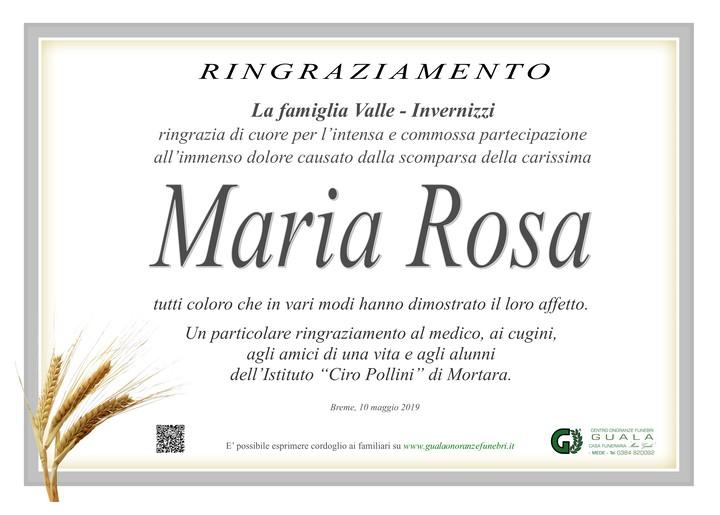 Ringraziamento per Invernizzi Maria Rosa