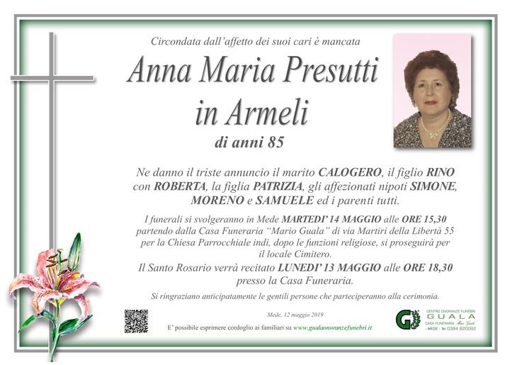 Necrologio di Anna Maria Presutti in Armeli