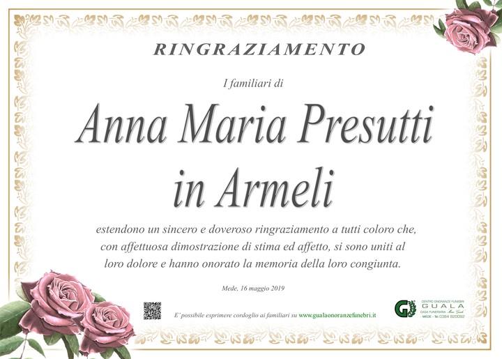 Ringraziamento per Anna Maria Presutti in Armeli