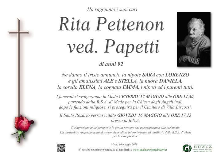 Necrologio di Rita Pettenon ved. Papetti