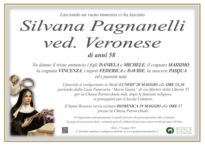 Necrologio di Silvana Pagnanelli ved. Veronese