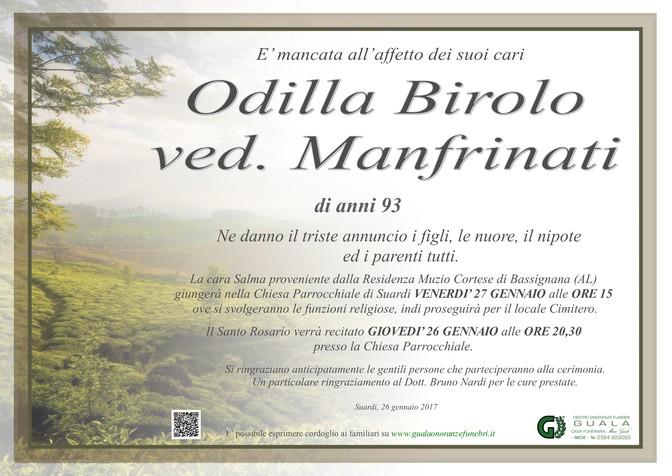 Necrologio di Odilla Birolo ved. Manfrinati