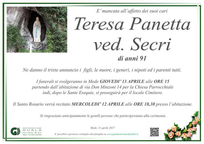 Necrologio di Teresa Panetta ved. Secri