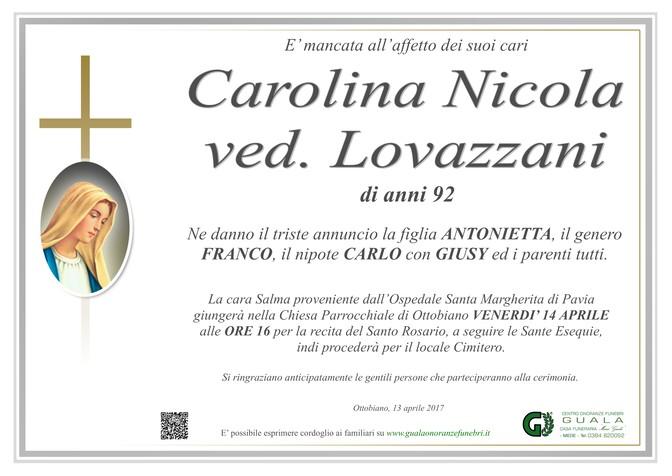 Necrologio di Carolina Nicola ved. Lovazzani