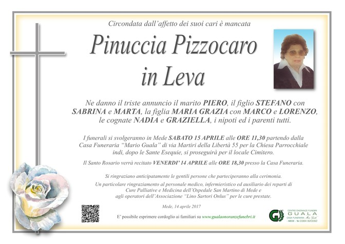 Necrologio di Pinuccia Pizzocaro in Leva