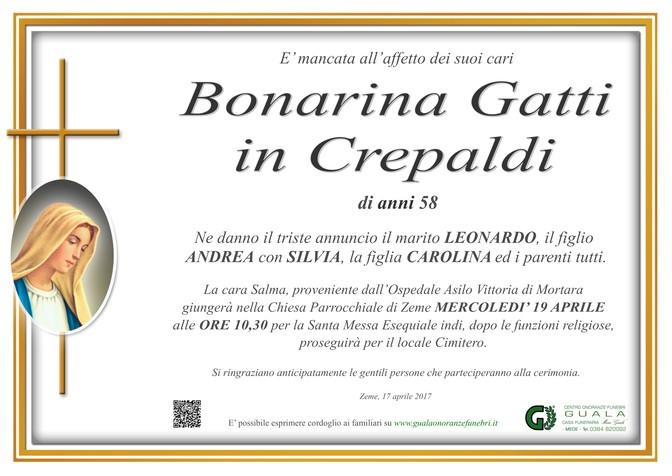 Necrologio di Bonarina Gatti in Crepaldi