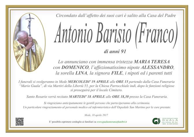 Necrologio di Antonio Barisio (Franco)