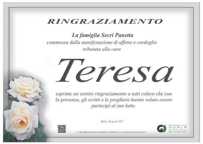 Ringraziamento per Teresa Panetta ved. Secri