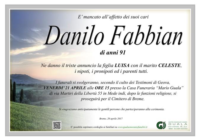 Necrologio di Danilo Fabbian