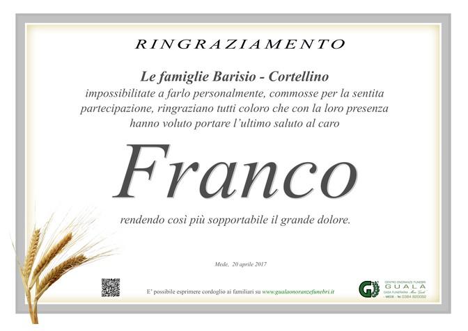 Ringraziamento per Antonio Barisio (Franco)