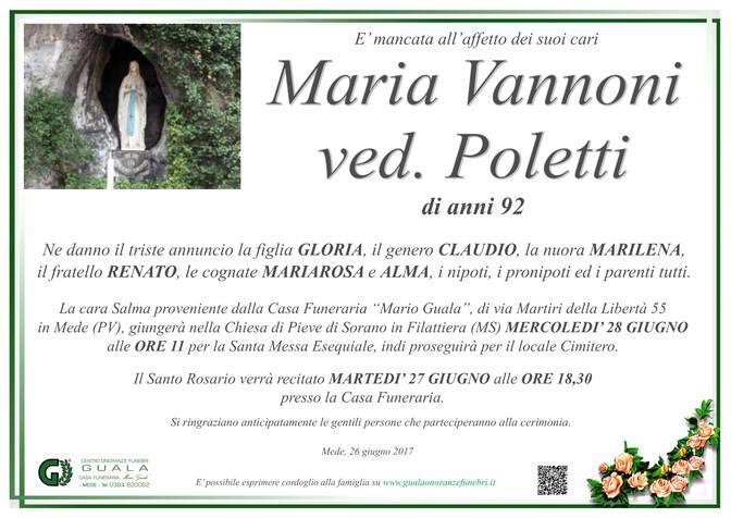 Necrologio di Maria Vannoni ved. Poletti