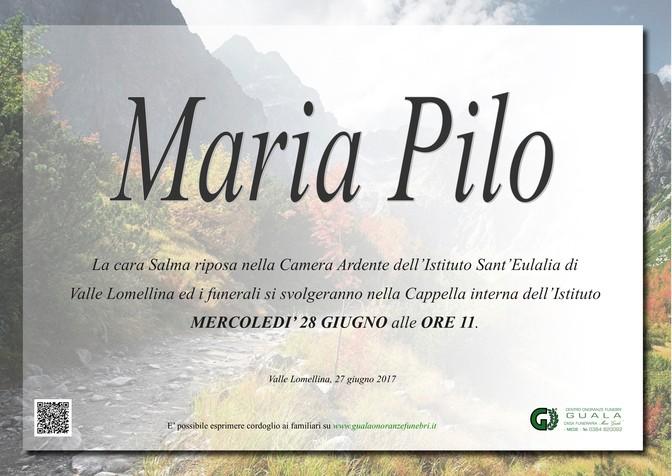 Necrologio di Maria Pilo