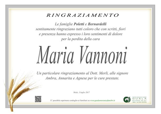 Ringraziamento per Maria Vannoni ved. Poletti