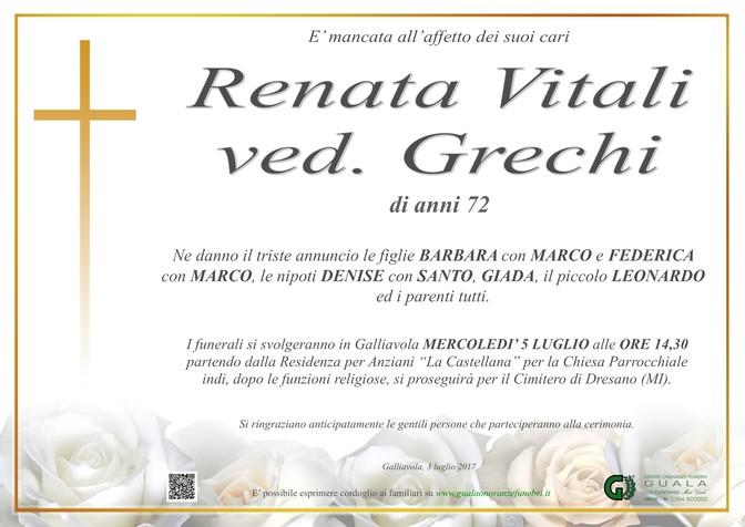 Necrologio di Renata Vitali ved. Grechi
