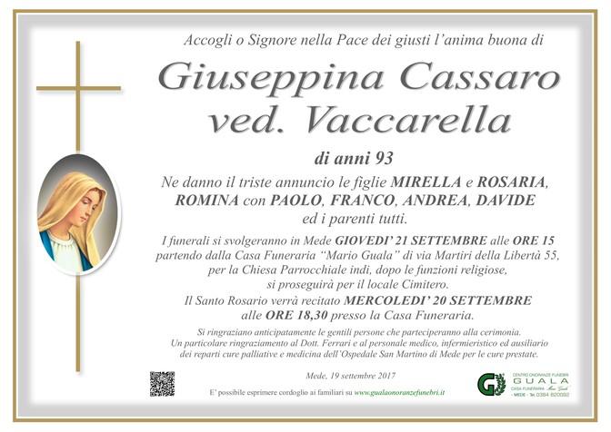 Necrologio di Giuseppina Cassaro ved. Vaccarella