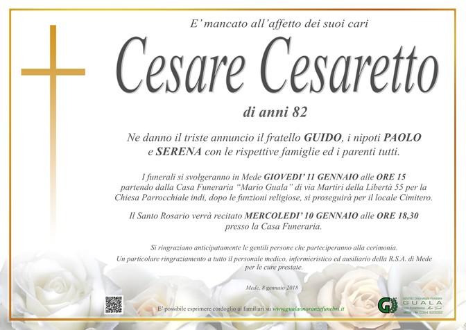 Necrologio di Cesare Cesaretto
