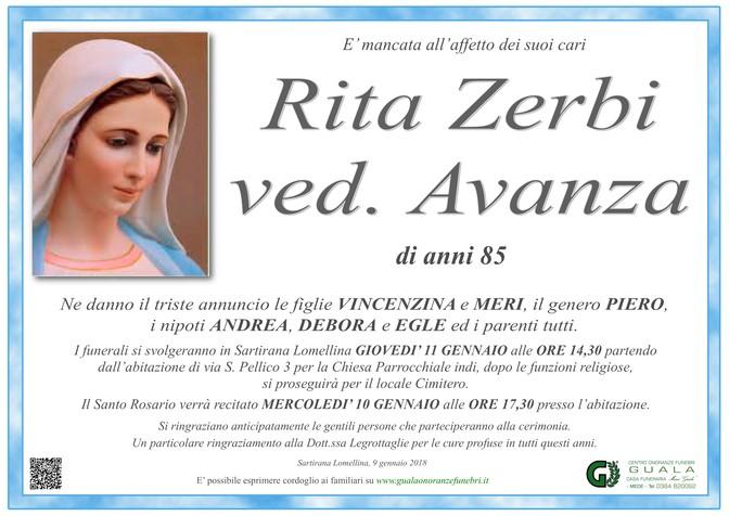 Necrologio di Rita Zerbi ved. Avanza
