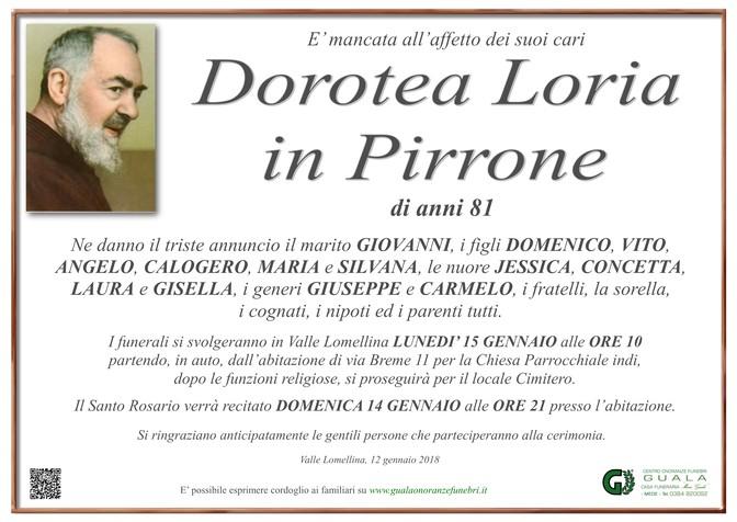 Necrologio di Dorotea Loria in Pirrone