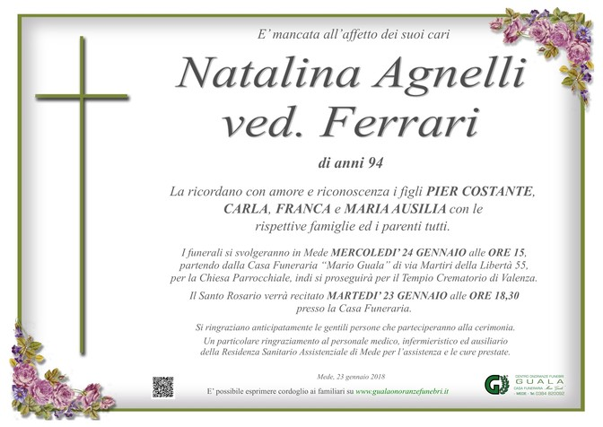 Necrologio di Natalina Agnelli ved. Ferrari