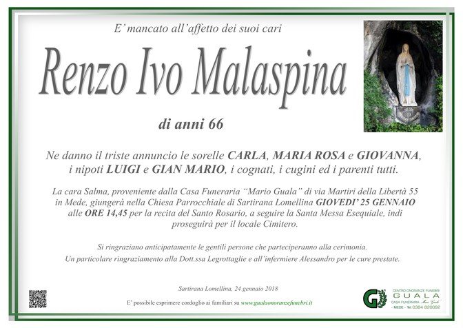 Necrologio di Renzo Ivo Malaspina