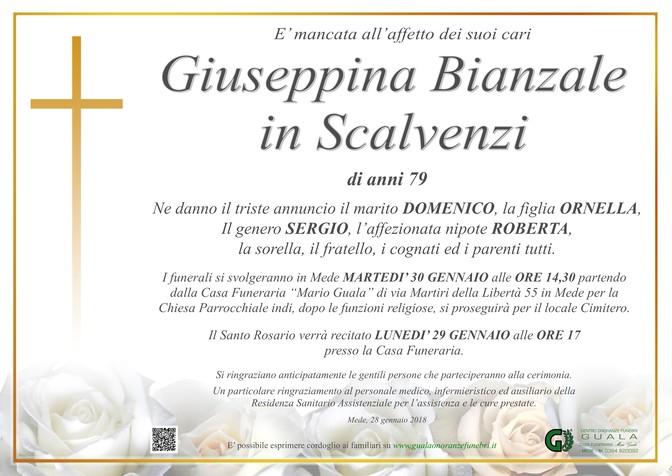 Necrologio di Bianzale Guseppina in Scalvenzi