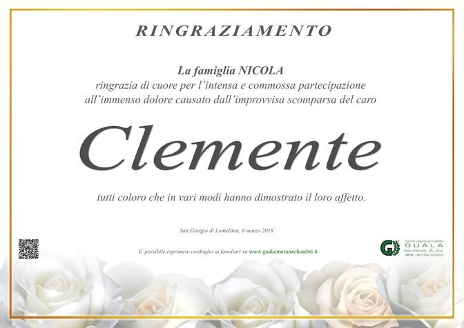 Ringraziamenti per Clemente Nicola