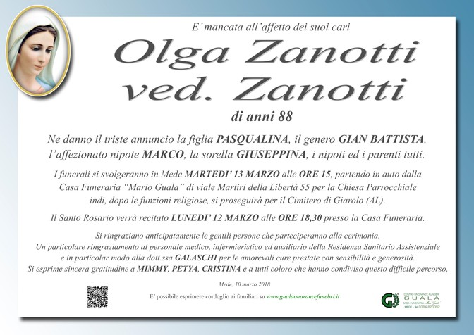 Necrologio di Olga Zanotti
