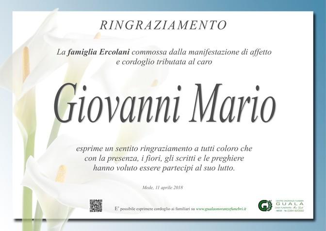 Ringraziamenti per Giovanni Mario Ercolani
