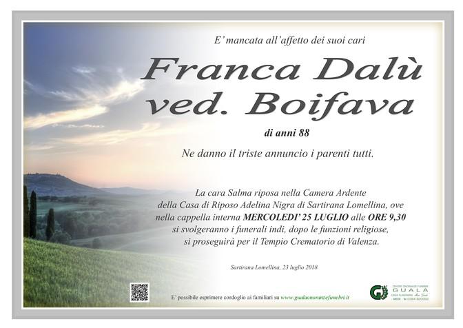 Necrologio di Franca Dalù ved. Boifava