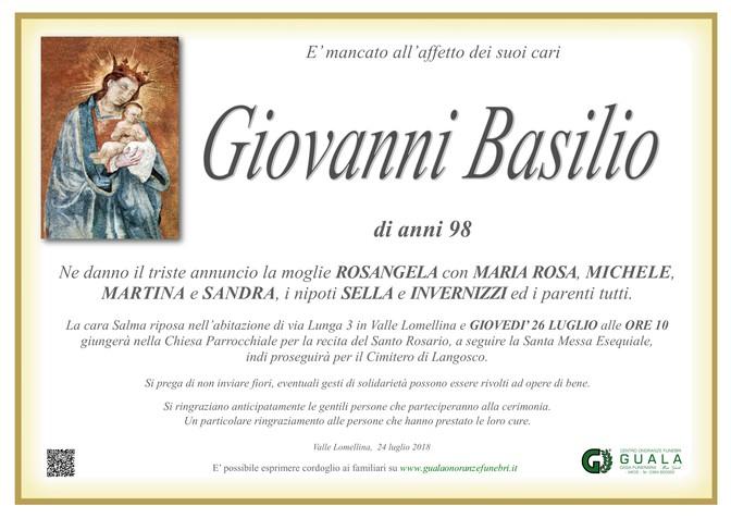 Necrologio di Giovanni Basilio