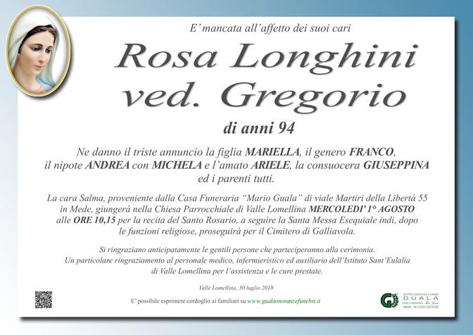 Necrologio di Rosa Longhini ved. Gregorio