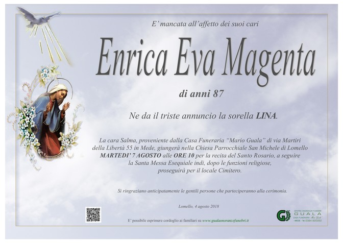 Necrologio di Enrica Eva Magenta