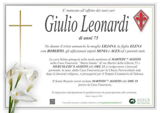 Necrologio di Giulio Leonardi