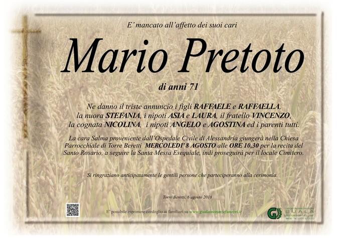 Necrologio di Mario Pretoto