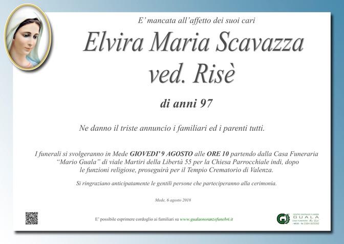 Necrologio di Elvira Maria Scavazza ved. Risè