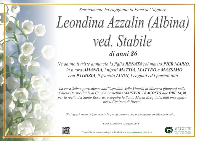 Necrologio di Leondina Azzalin (Albina) ved. Stabile