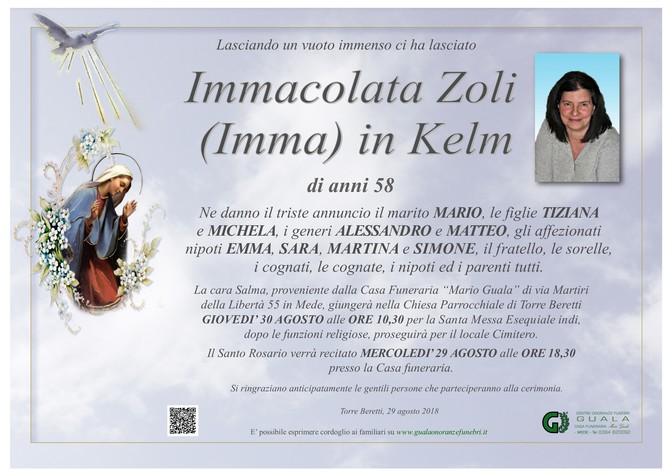 Necrologio di Immacolata Zoli (Imma) in Kelm