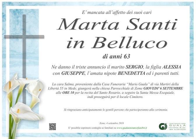 Necrologio di Marta Santi in Belluco