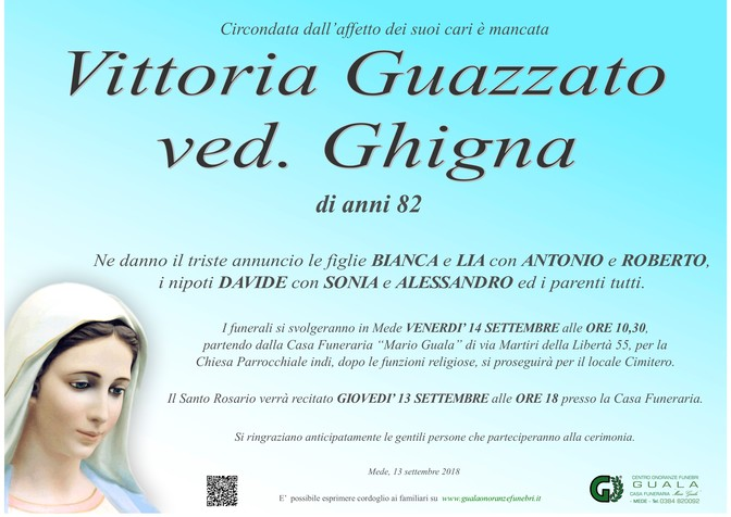 Necrologio di Vittoria Guazzato ved. Ghigna