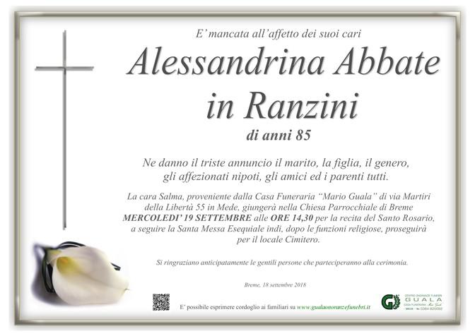 Necrologio di Alessandrina Abbate in Ranzini