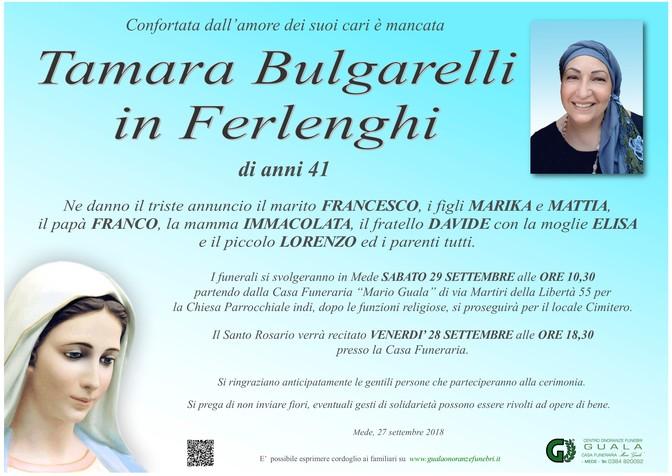 Ringraziamenti per Tamara Bulgarelli in Ferlenghi